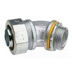 Midwest LTB12545 Liquidator™ Insulated 45 Degree Liquidtight Conduit Connector; 1-1/4 Inch, Malleable Iron, Electro-Plated Zinc