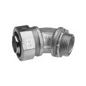 Midwest LTB15045 Liquidator™ Insulated 45 Degree Liquidtight Conduit Connector; 1-1/2 Inch, Malleable Iron, Electro-Plated Zinc