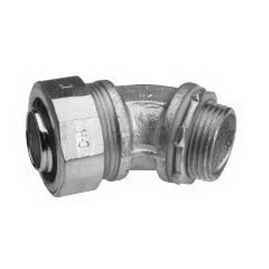 Midwest LT3845 Liquidator™ Non-Insulated 45 Degree Liquidtight Conduit Connector; 3/8 Inch, Malleable Iron, Electro-Plated Zinc