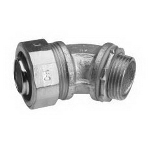 Midwest LT7545 Liquidator™ Non-Insulated 45 Degree Liquidtight Conduit Connector; 3/4 Inch, Malleable Iron, Electro-Plated Zinc