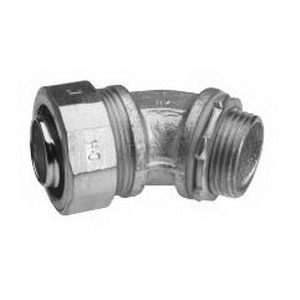 Midwest LT10045 Liquidator™ Non-Insulated 45 Degree Liquidtight Conduit Connector; 1 Inch, Malleable Iron, Electro-Plated Zinc