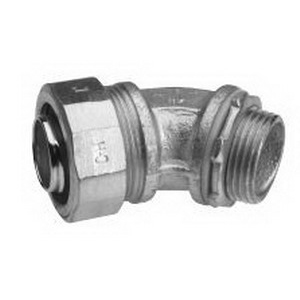 Midwest LT12545 Liquidator™ Non-Insulated 45 Degree Liquidtight Conduit Connector; 1-1/4 Inch, Malleable Iron, Electro-Plated Zinc