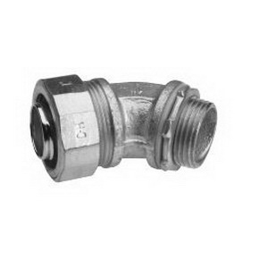 Midwest LT20045 Liquidator™ Non-Insulated 45 Degree Liquidtight Conduit Connector; 2 Inch, Malleable Iron, Electro-Plated Zinc