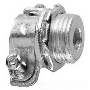 Midwest 712 Straight Non-Insulated Conduit Connector; 1-1/2 Inch, Malleable Iron, Zinc-Plated, Squeeze x MNPT