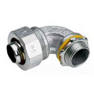 Midwest LTB40090 Liquidator™ Insulated 90 Degree Liquidtight Conduit Connector; 4 Inch, Malleable Iron, Electro-Plated Zinc