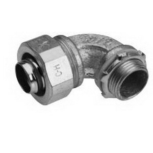 Midwest LTB30090 Liquidator™ Insulated 90 Degree Liquidtight Conduit Connector; 3 Inch, Malleable Iron, Electro-Plated Zinc