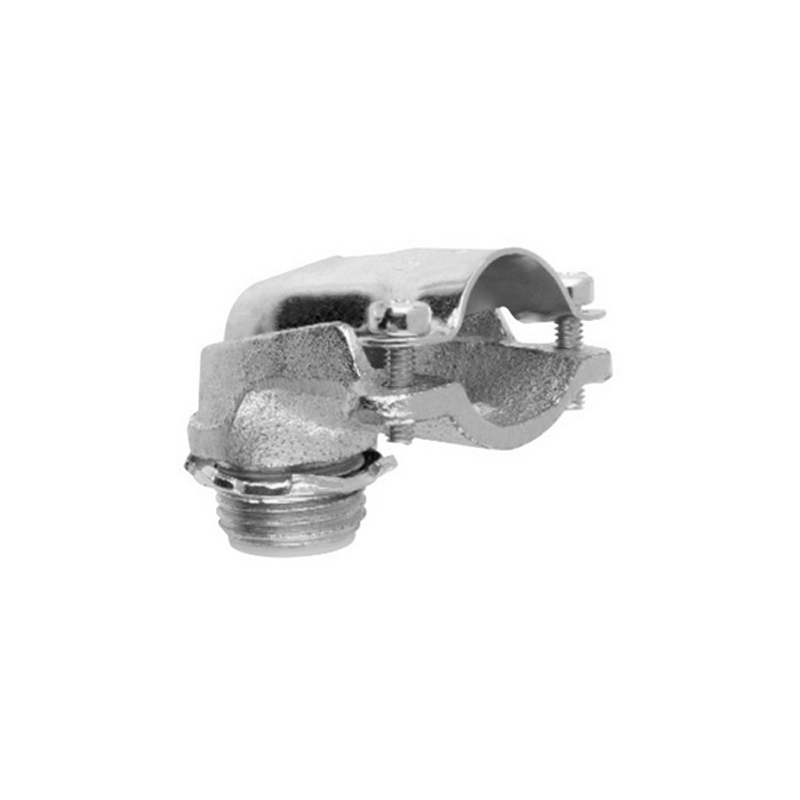 Midwest 1739 Insulated 90 Degree FMC Connector; 1 Inch, Malleable Iron, Zinc-Plated, Screw Clamp x MNPT