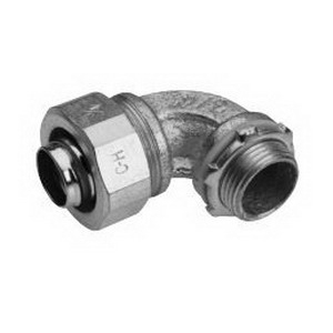 Midwest LT5090G Liquidator™ Non-Insulated 90 Degree Liquidtight Conduit Connector With Aluminum Grounding Lug; 1/2 Inch, Malleable Iron, Electro-Plated Zinc