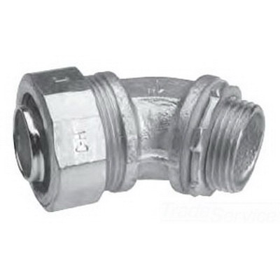 Midwest LT7545G Liquidator™ Non-Insulated 45 Degree Liquidtight Conduit Connector With Aluminum Grounding Lug; 3/4 Inch, Malleable Iron, Electro-Plated Zinc