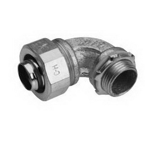 Midwest LT35090 Liquidator™ Non-Insulated 90 Degree Liquidtight Conduit Connector; 3-1/2 Inch, Malleable Iron, Electro-Plated Zinc