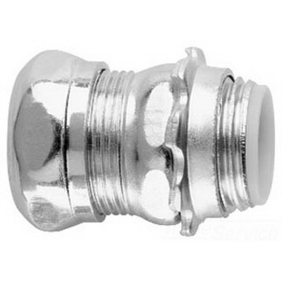 Midwest 1652 Insulated EMT Compression Connector; 1 Inch MNPT, Steel, Zinc-Plated