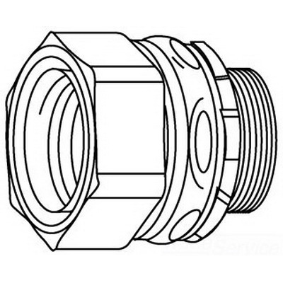Midwest LTK38 Straight LTK Low Profile Series Non-Insulated Liquidtight Conduit Connector; 3/8 Inch, Steel, Electro-Plated Zinc, NPT