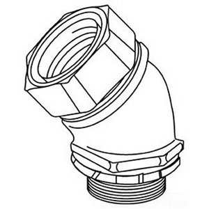 Midwest LTK10045 LTK Low Profile Series Non-Insulated 45 Degree Liquidtight Conduit Connector; 1 Inch, Malleable Iron, Electro-Plated Zinc, NPT
