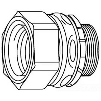 Midwest LTBK125 Straight Low Profile Insulated Liquidtight Conduit Connector; 1-1/4 Inch, Steel, Electro-Plated Zinc, NPT