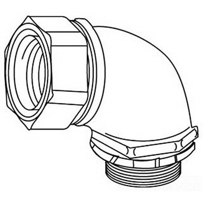 Midwest LTBK7590 LTK Low Profile Series Insulated 90 Degree Liquidtight Conduit Connector; 3/4 Inch, Malleable Iron, Electro-Plated Zinc, NPT