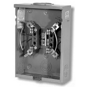 Milbank U7487-RL Ringless Single Position Meter Socket; 600 Volt AC, 125 Amp Continuous, 1-Phase, 4-Jaw, Surface Mount
