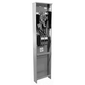 Milbank U3849-O-2/200 Ringless 3-Wire Meter Main With Breaker; 240 Volt AC, 320 Amp Continuous, 1-Phase, 4-Jaw, Pedestal Mount