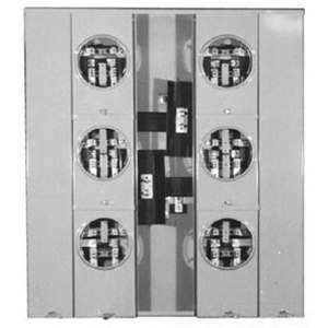 Milbank U2856-X Ringless Rectangular 3-Wire 6-Position Main Meter Socket; 120/240 Volt AC, 125 Amp Continuous, 1-Phase, 4-Jaw, Surface Mount
