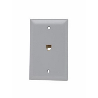 Pass & Seymour TPTE1-GRY Standard 1-Gang Wall Plate; Wall/Screw Mount, Gray