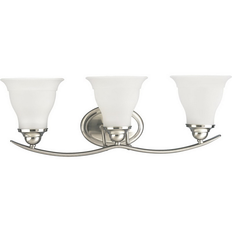 Progress Lighting P3192-09 Trinity Collection 3-Light Wall Mount Bath Light Fixture; 100 Watt, Brushed Nickel, Lamp Not Included