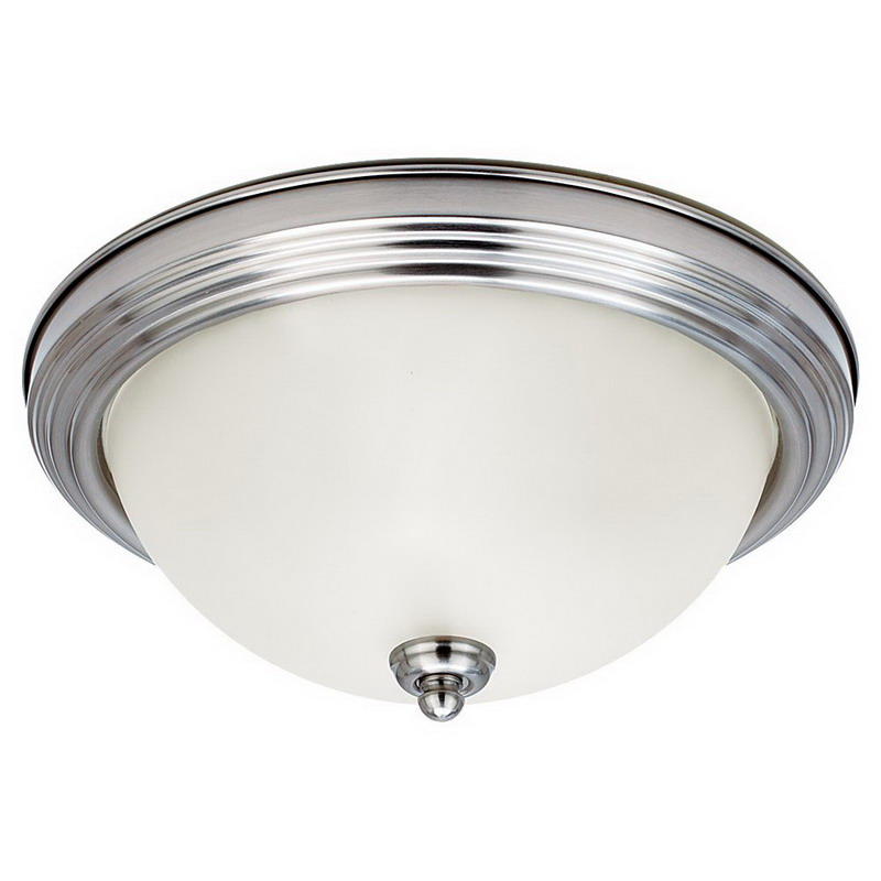 Sea Gull 77065-962 3-Light Flush Mount Ceiling Light Fixture; 60 Watt, Brushed Nickel, Lamp Not Included
