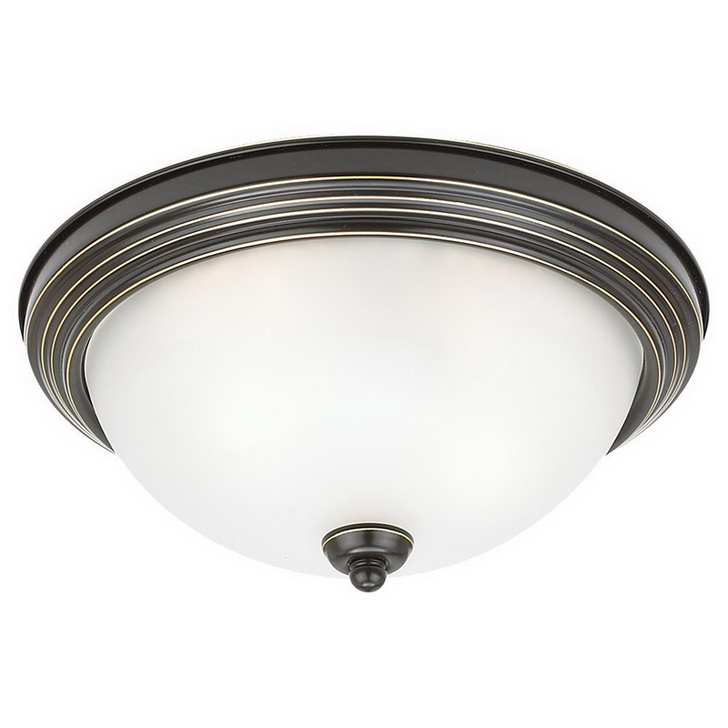 Sea Gull 77065-782 3-Light Flush Mount Ceiling Light Fixture; 60 Watt, Heirloom Bronze, Lamp Not Included
