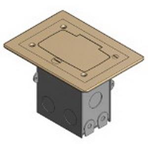 Steel City 71W-GFCI 1-Gang Rectangular Floor Box; 2 Inch Depth, Stamped Steel, 18 Cubic-Inch, Brass