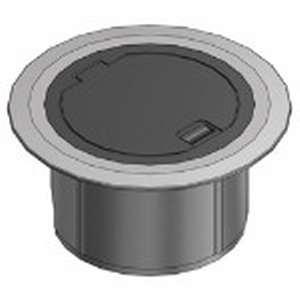 Steel City 68R-CST-ALM Duplex/GFCI Receptacle/2-Port Keystone Data 2-Compartment Round Floor Box Cover; Polycarbonate, Black With Aluminum Flange