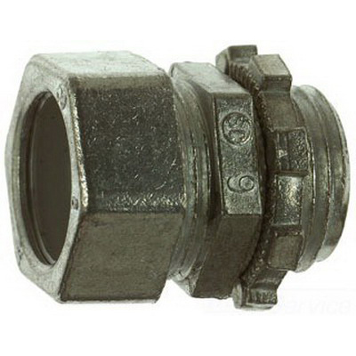 Steel City TC-211-SC Non-Insulated EMT Conduit Compression Connector; 1/2 Inch MNPT, Die-Cast Zinc