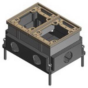 Steel city 642 1 fully adjustable 2 gang rectangular floor for Steel city floor boxes