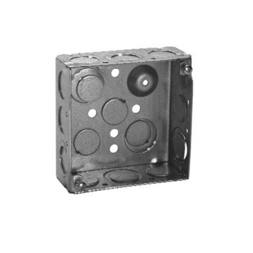 Thepitt TP403PF Square Outlet Box With Ground Screw; Steel, 4 Inch Width x 2-1/8 Inch Depth, 30.3 Cubic-Inch, 16-Knockouts