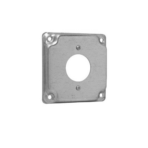 Thepitt TP519 Twist-Lock Single Receptacle Raised Square Box Cover; Steel, 5.5 Cubic-Inch, 1/2 Inch Depth