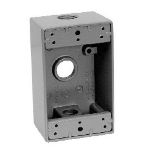 Thepitt TP7126 2-Gang Weatherproof Outlet Box; 1/2 Inch Depth, Die-Cast Aluminum, 37 Cubic-Inch, Gray