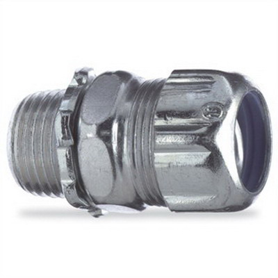 Thomas & Betts 5231 Straight Non-Insulated Liquidtight Flexible Metal Conduit Connector; 3/8 Inch, Steel, Electro-Plated Zinc/Chromate Coated, Tapered Threaded