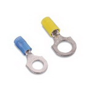 Thomas & Betts RB863 Nylon Insulated Ring Terminal; 18-14 AWG, #8 Stud, Copper, Blue