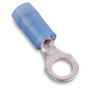 Thomas & Betts RB873 Nylon Insulated Ring Terminal; 18-14 AWG, #10 Stud, Copper, Blue
