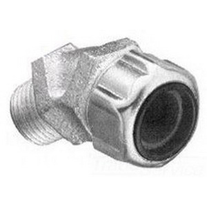 Thomas & Betts 2202 45 Degree Liquidtight Strain Relief Cord Connector; 1/2 Inch Threaded, 0.375 - 0.500 Inch, Malleable Iron