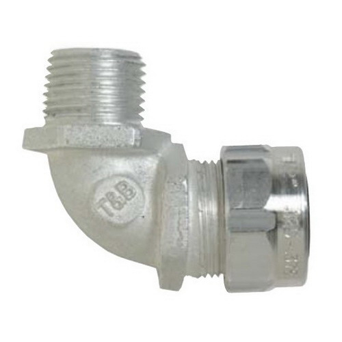 Thomas & Betts 4961AL Ranger® 90 Degree Liquidtight Strain Relief Connector; 1/2 Inch Threaded, 0.310 - 0.560 Inch, Aluminum
