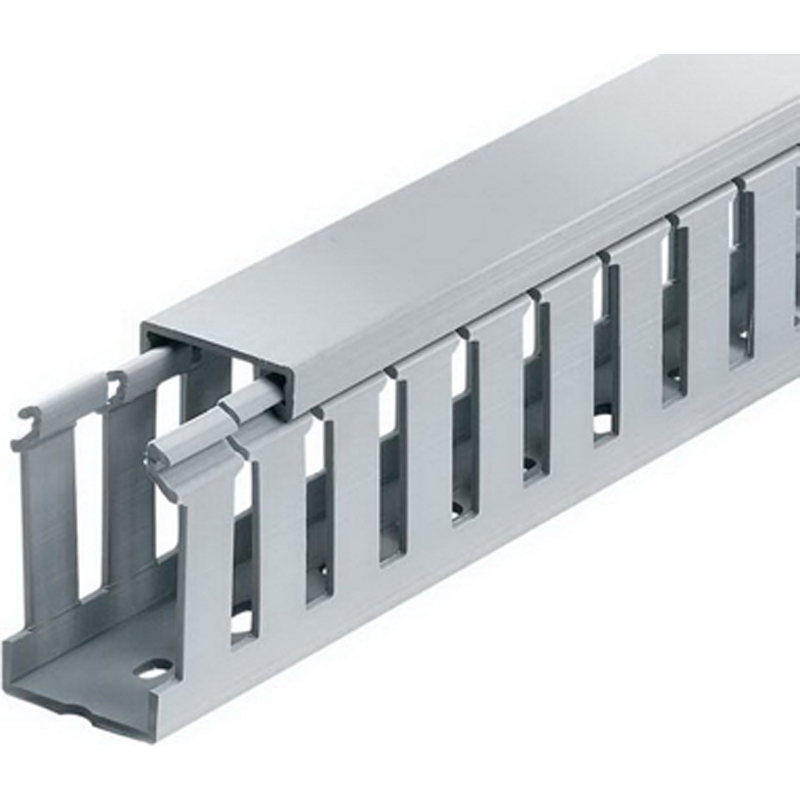 Thomas & Betts TY2X4WPG6 Wide Slot Wiring Duct; 6 ft x 2 Inch x 4 Inch, Rigid PVC, Gray