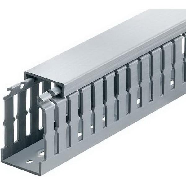 Thomas & Betts TY1X2NPG6 Narrow Slot Wiring Duct; 6 ft x 1 Inch x 2 Inch, Rigid PVC, Gray