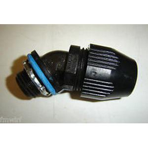 Thomas & Betts LT4100P Xtra Flex® Plastic Bullet® 45 Degree Liquidtight Connector; 1 Inch, Thermoplastic, NPT