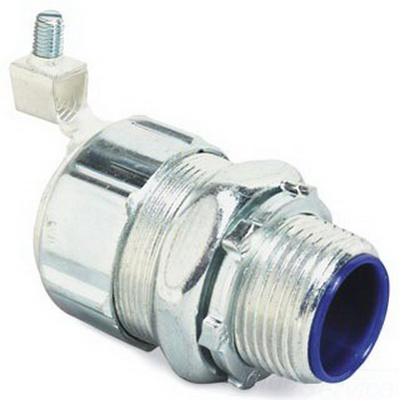 Thomas & Betts 5235GR Straight Non-Insulated External Bonding Liquidtight Connector; 1-1/4 Inch, Steel, Electro-Plated Zinc/Chromate Coated, Tapered Threaded