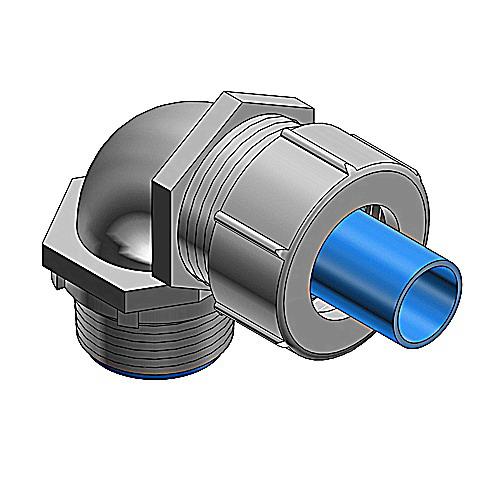 Thomas & Betts LT975M Xtra Flex® Metallic Bullet® 90 Degree Liquidtight Connector; 3/4 Inch, Steel, NPT