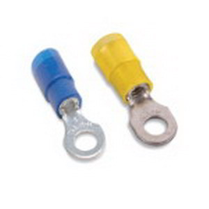 Thomas & Betts RB14-10X Expanded Nylon Insulated Ring Terminal; 18-14 AWG, #10 Stud, Copper, Blue