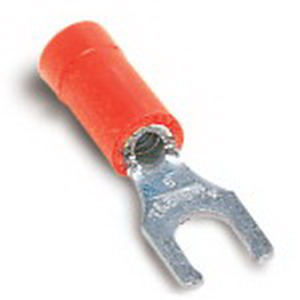 Thomas & Betts 18RA-10FL Sta-Kon® Vinyl Insulated Locking Fork Terminal; 22-16 AWG, #10 Stud, Red