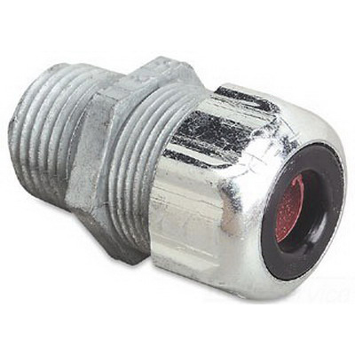 Thomas & Betts 2544 Liquidtight Strain Relief Cord Connector; 1 Inch Threaded, 0.500 - 0.625 Inch, Die-Cast Zinc