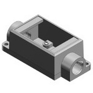 Thomas & Betts FSC2-TB Shallow Through-Feed 1-Gang FS Cast Device Box; 2 Inch Depth, Iron, Gray, 3/4 Inch Hub