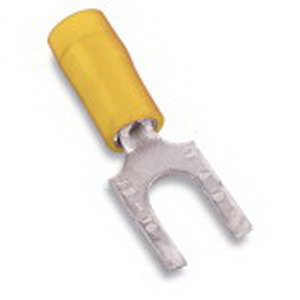 Thomas & Betts RC10-8FS Sta-Kon® Nylon Insulated Flanged Fork Terminal; 12-10 AWG, #8 Stud, Yellow