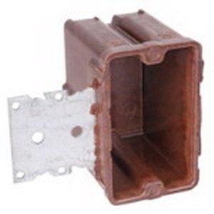 Union 2000-738 1-Gang Switch/Outlet Box; 3-1/8 Inch Depth, Phenolic, 18 Cubic-Inch, Brown