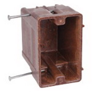 Union 1250-UB 1-Gang Switch/Outlet Box; 3-3/8 Inch Depth, Phenolic, 20.3 Cubic-Inch, Brown